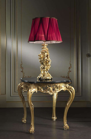 Baroque Lamps.....Gold Leaf Finish with red lampshade, High End