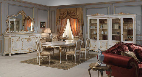 XVI French Classic Dining Room Set White Gold Louis