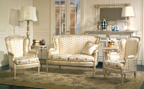 Louis XVI Living Room Set, Sofa & Chairs
