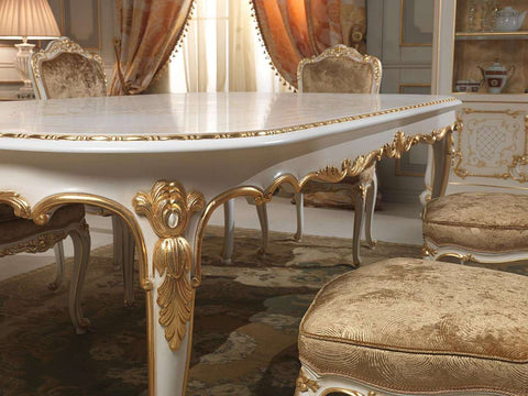 Charming ... XVI · French Classic Dining Room Set, White U0026 Gold Louis ...