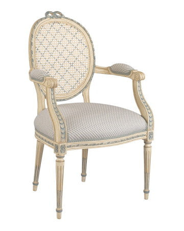 Louis XVI bow-knot caned-back Armchair & Side Chair