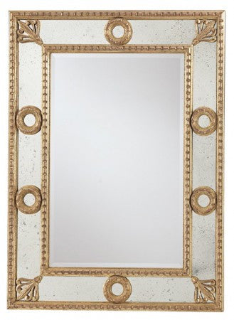 Gold Frame Mirror with Antique Mirror Border