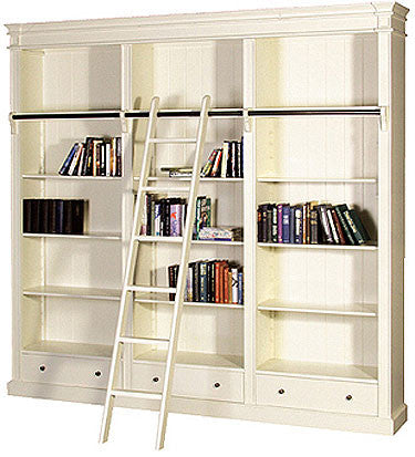 Antique White Library Bookcase with ladder