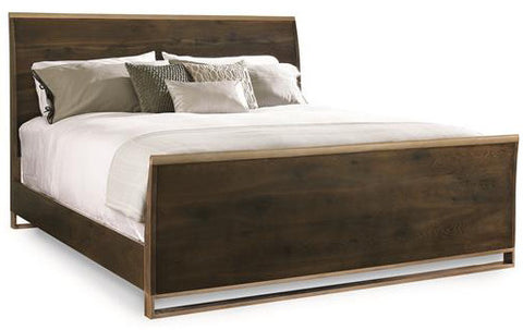 Bed in metal and wood, Dark Oak Finish