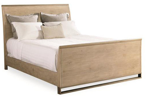 Bed in metal and wood, light oak finish