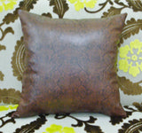 Brown Snakeskin Pillow, Faux Leather