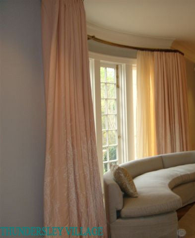 Contemporary Curtains for a Bay Window, Luxury Linen Printed