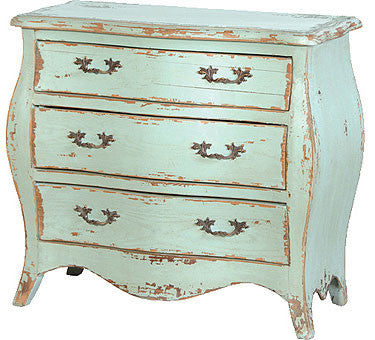 Turquoise Chest of Drawers, French Country Furniture Small 14 drawer