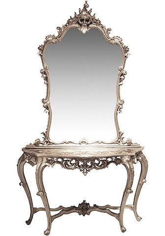 French Chateau Silver Console Table & Mirror