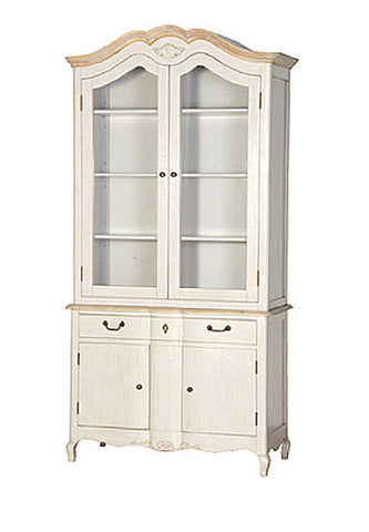French Country Display Cabinet, Stone U0026 Natural Oak French Style