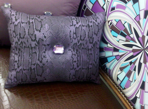 Animal Print Throw Pillow, Bling Snakeskin, Black & Mauve
