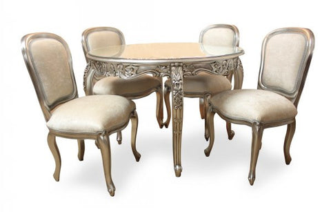 silver dining table and chairs.  Round Carved Dining Table Set Silver Leaf French Provincial Style of 5 Provencial Room