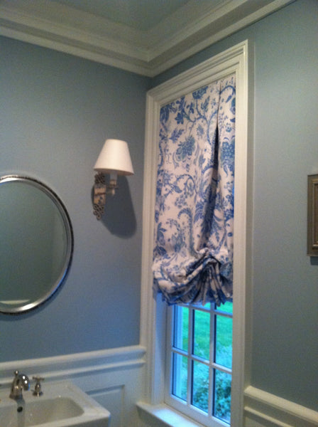 Tailored Balloon Shade Window Treatments For Powder Room