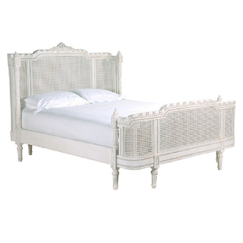 French Chateau Rattan Bed ,Slightly Distressed White
