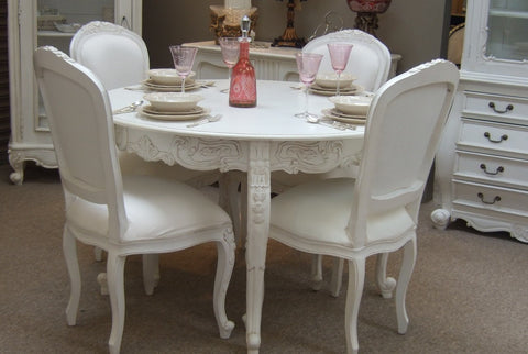 French Provincial Dining Table Set 4 Chairs 1 Table Distresssed White Luxury Window Treatments