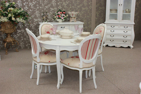 French Provincial Dining Table Set 4 Chairs 1 Table Distresssed