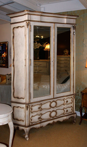 ... Marie Antoinette 2 Door Mirrored Armoire, Antique White U0026 ...