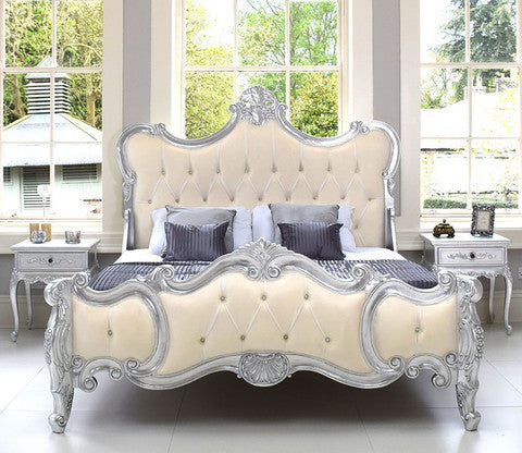 Baroque Bedroom Set, Silver Leaf / Cream Velvet Upholstery