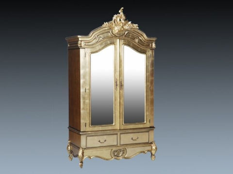 French Carved Armoire, 2 Door Gold Leaf
