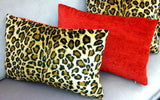 Animal Print Throw Pillow, Leopard & Red Velvet, Lumbar