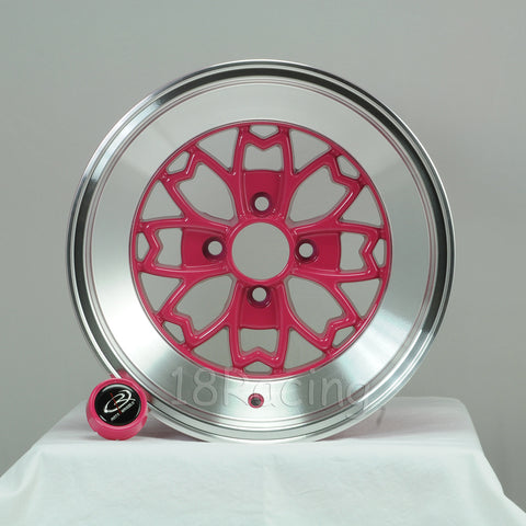 Rota Wheels Aleica 1580 4x100 15 67.1 Pink with Polish Lip