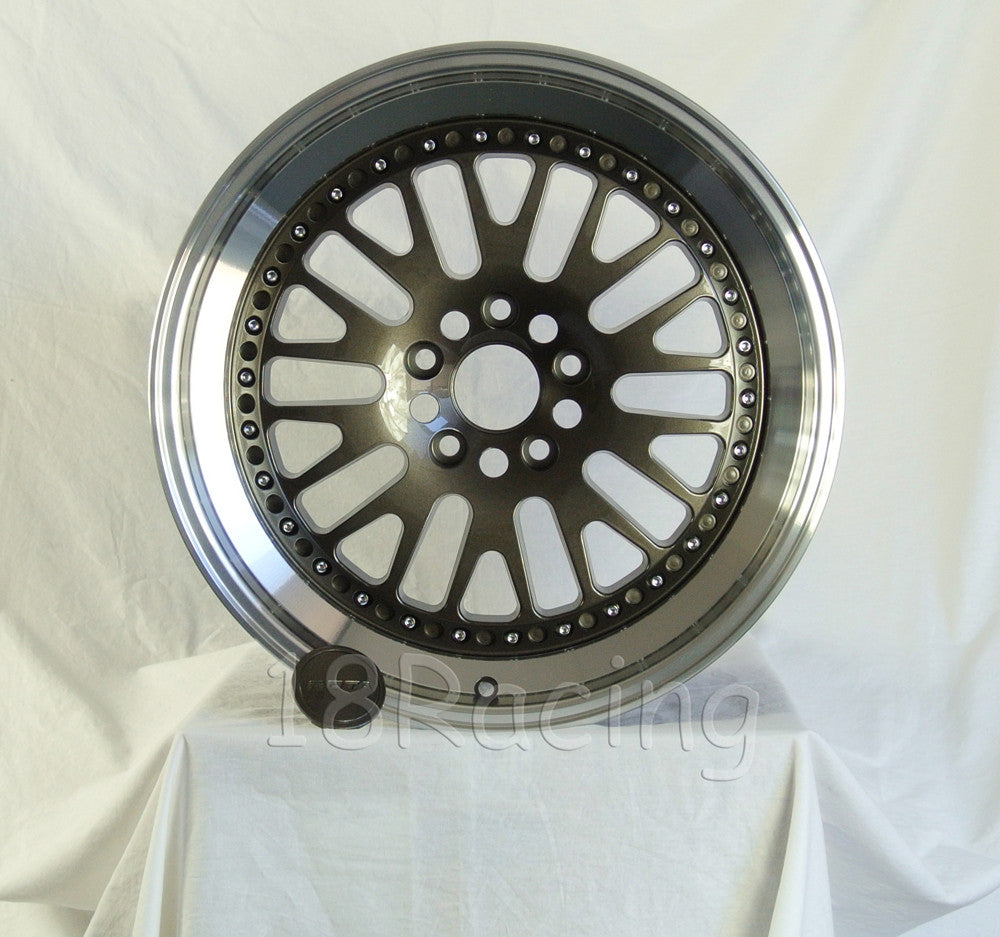 Rota Wheels Flush 1895 5X100 38 73 Gunmetal with Polish Lip