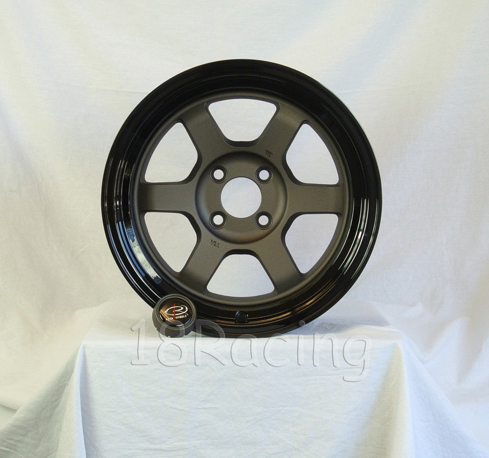 Rota Wheels Grid V 1580 4X100 0 67.1 Flat Gunmetal with Yamaha Black Lip