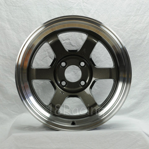 Rota Wheels Grid V 1580 4X114.3 0 73 Gunmetal with Polish Lip