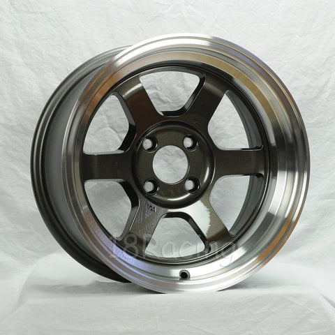 Rota Wheels Grid V 1570 4X114.3 0 73 Gunmetal with Polish Lip