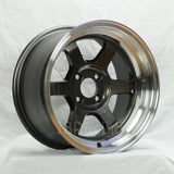 Rota Wheels Grid V 1590 4X100 0 67.1 Gunmetal with Polish Lip