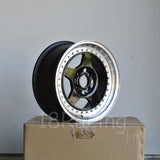 Rota Wheels Kyusha 1570 4X100 38 67.1 Black with Polish Lip