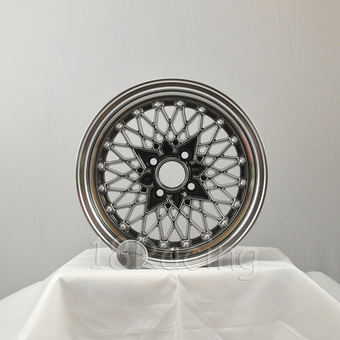 Rota Wheels Os Mesh 1570 4X95.25 25 57.1 Hyperblack with Polish Lip