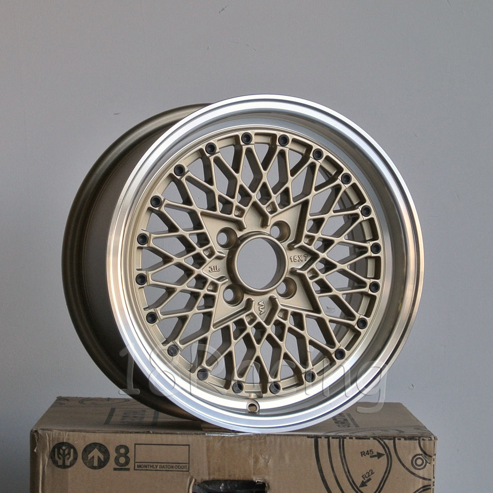 Rota Wheels Os Mesh 1570 4X100 25 57.1 Gold with Polish Lip