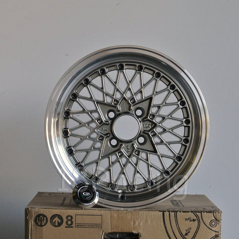 Rota Wheels Os Mesh 1580 4X100 20 67.1 Steel Grey with Polish Lip