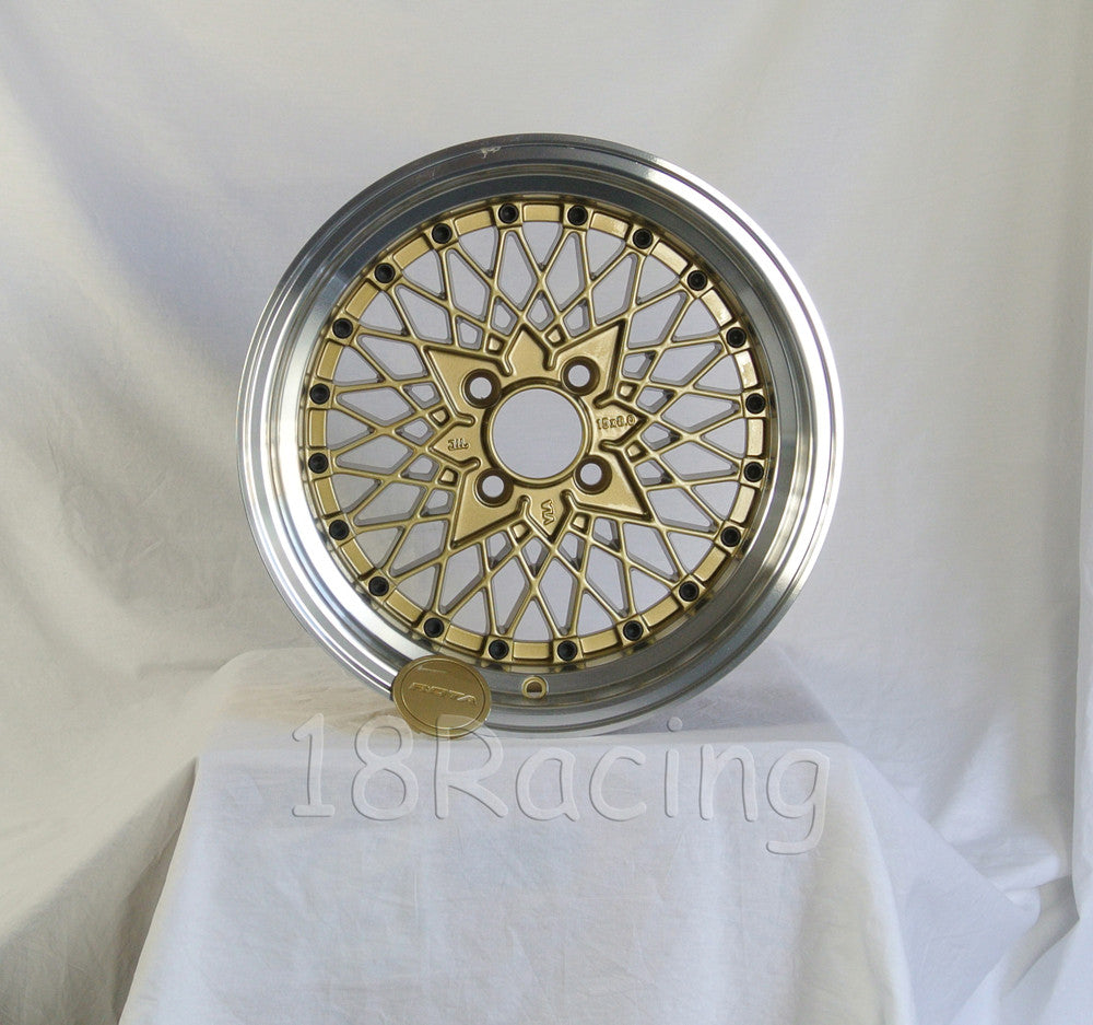 Rota Wheels Os Mesh 1580 4X100 20 67.1 Gold with Polish Lip