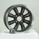 Rota Wheels RB 1560 4X108 25 73 Gunmetal with Polish Lip