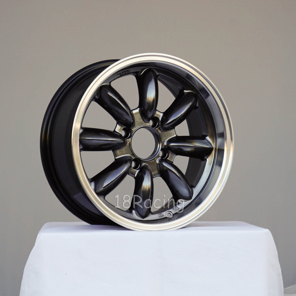 Rota Wheels RB 1570 4X100 35 67.1 Hyperblack with Polish Lip