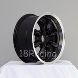 Rota Wheels RB 1570 4X100 30 67.1 Black with Polish Lip