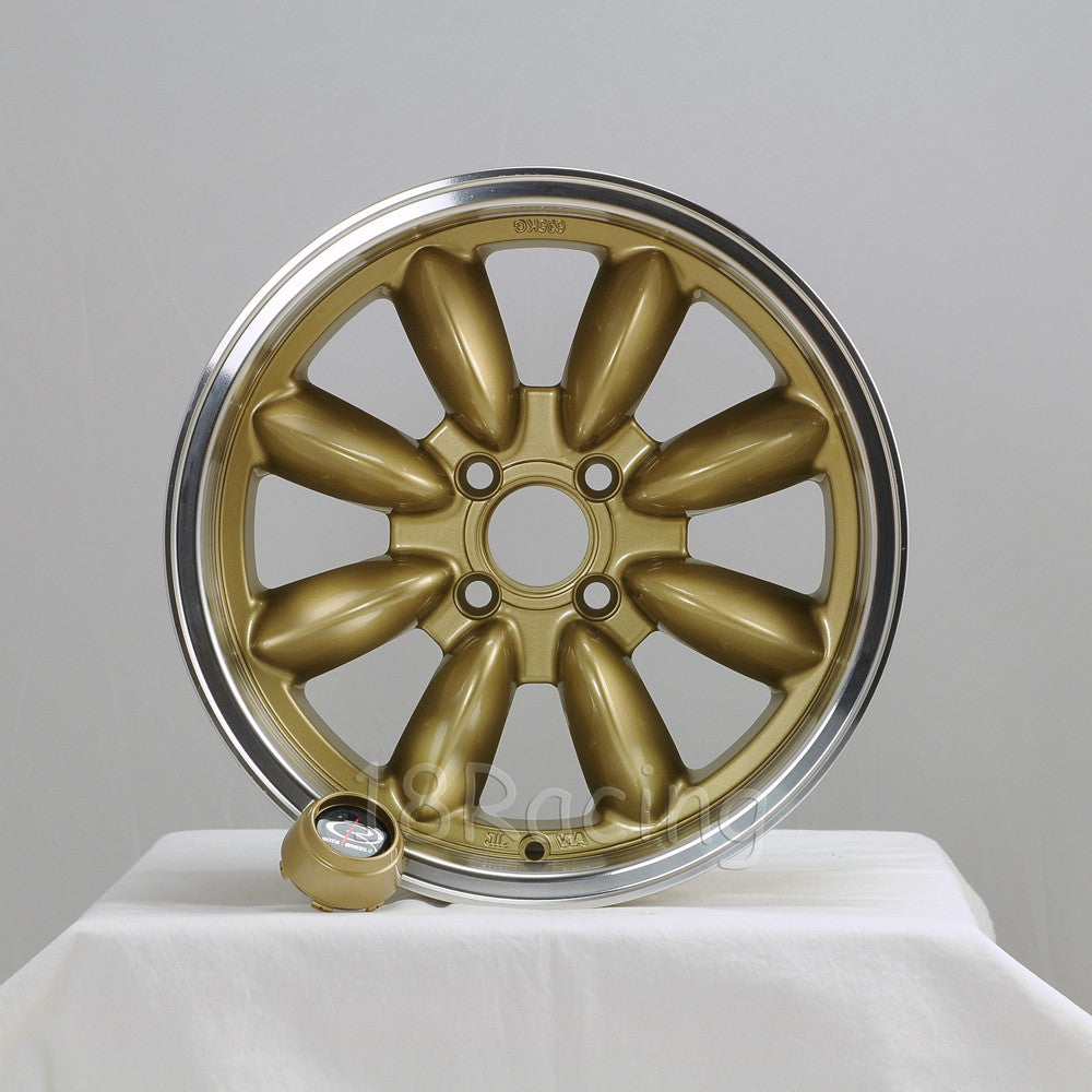 Rota Wheels RB 1560 4X108 25 73 Gold with Polish Lip