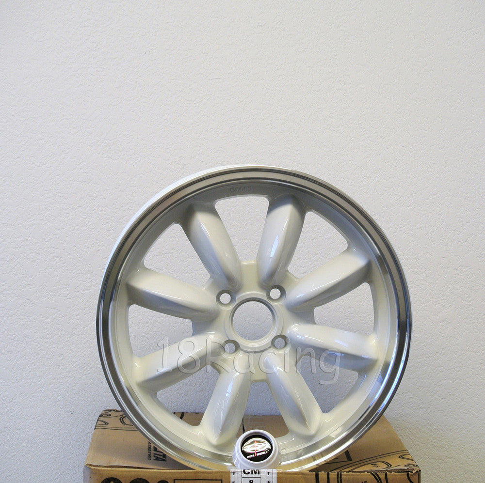Rota Wheels RB 1570 4X100 35 67.1 White with Polish Lip