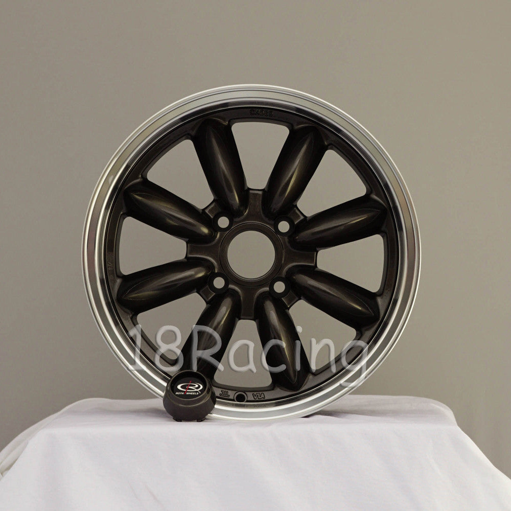 Rota Wheels RB 1670 4X100 40 56.1 Gunmetal with Polish Lip