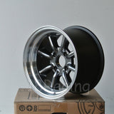Rota Wheels RKR 1590 4X100 -15 67.1 Hyperblack with Polish Lip