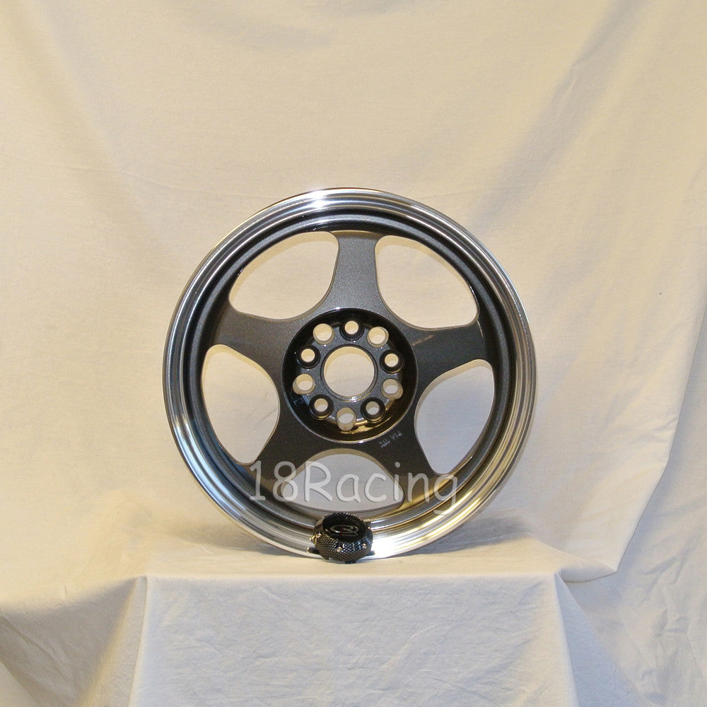 Rota Wheels Slipstream 1570 5X100 35 57.1 Gunmetal with Polish Lip