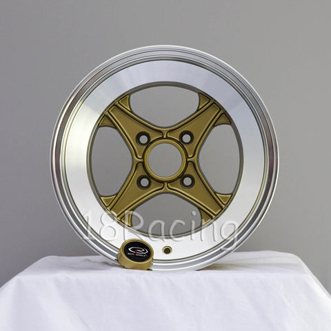 Rota Wheels XO4 1580 4X114.3 -10 67.1 Gold with Polish Lip