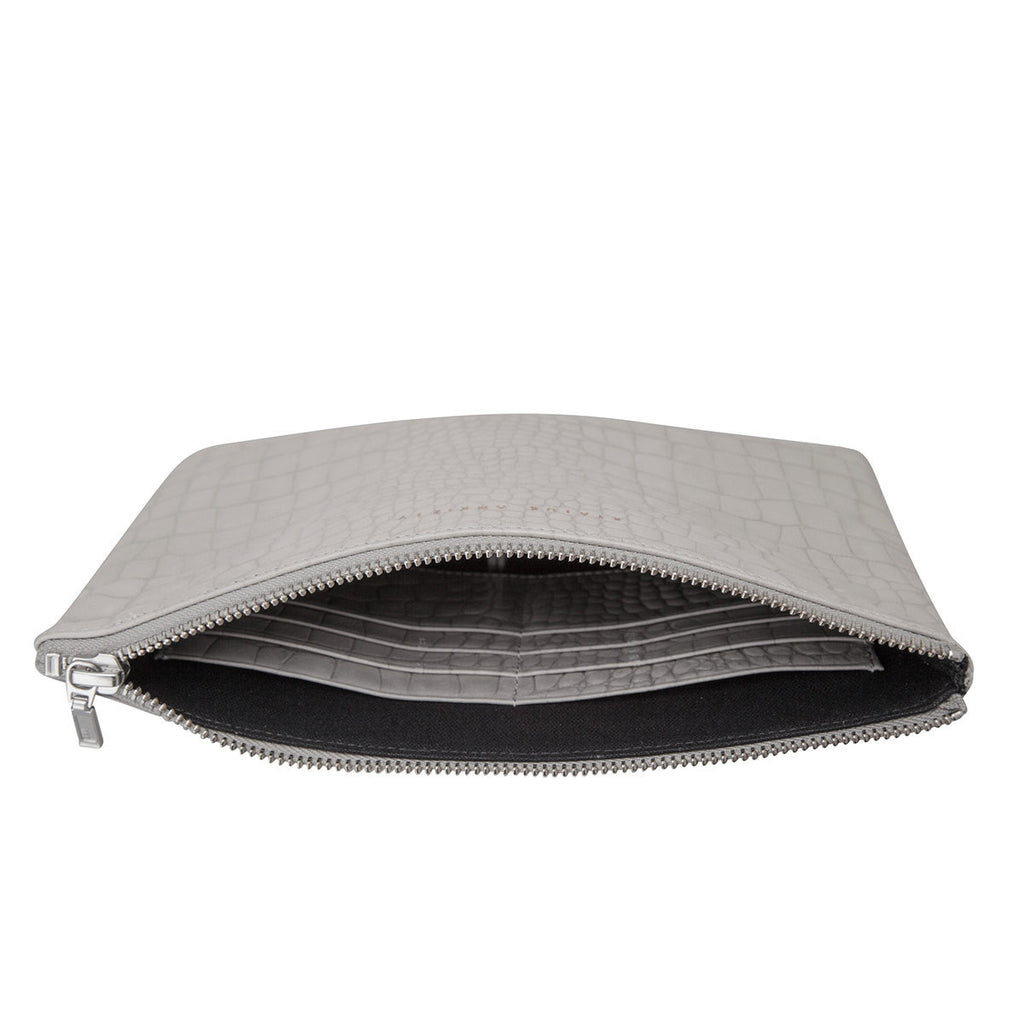 Status Anxiety Anti-Heroine Clutch Grey Croc Emboss