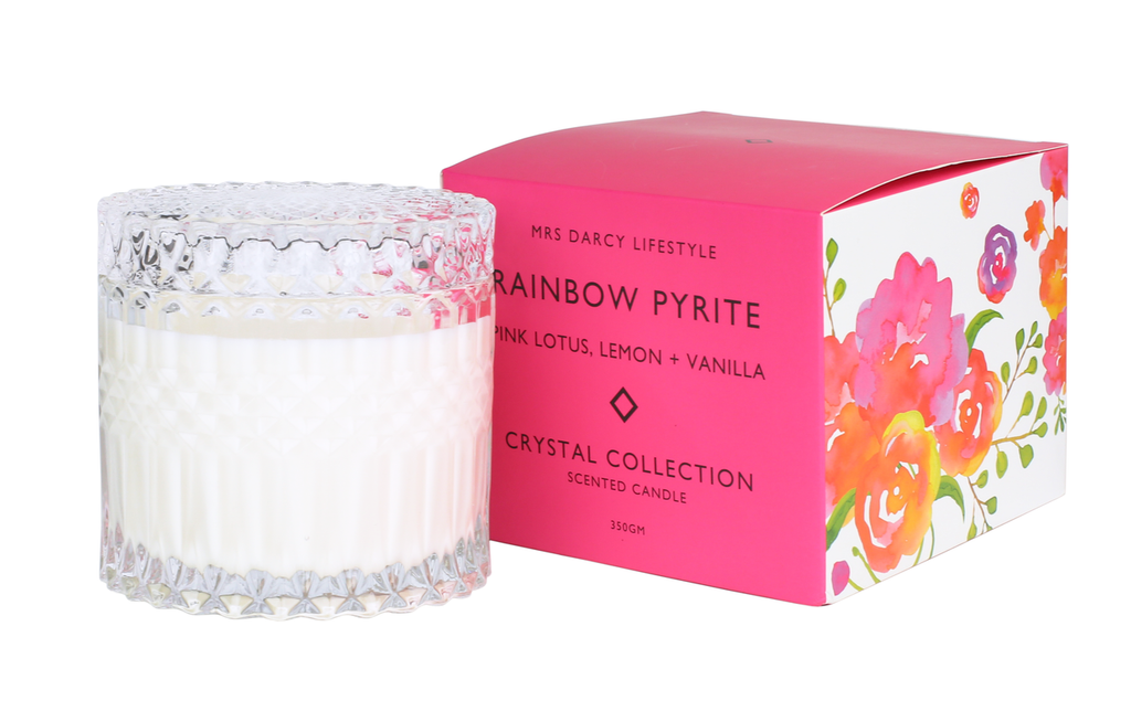 Mrs Darcy Crystal Candle Rainbow Pyrite