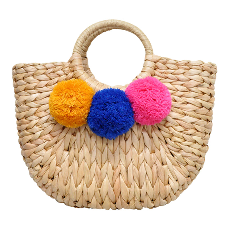 Multicolour Pom Pom Straw Bag