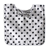 Alimrose Bow Tie Bib - Grey Black Polka Dot
