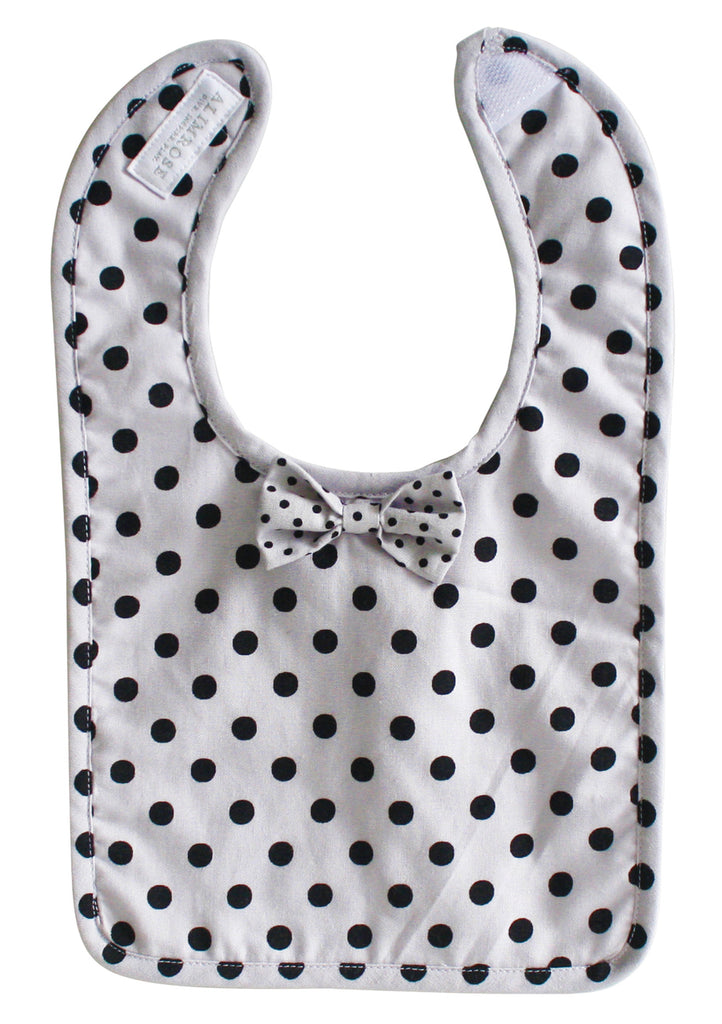 Bow Tie Bib: Grey Black Polka **LAST ONE**
