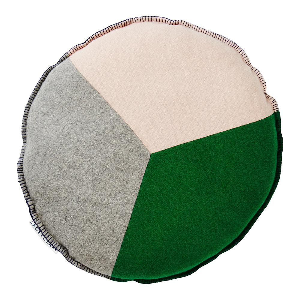 Sage and Clare Rudy Patchwork Felt Cushion Emerald